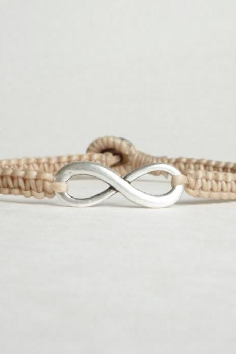 Tan Infinity - Simple Single Silver Infinity Sign/Eight woven with Tan Wax Cord Bracelet / Wristband - Men Jewelry - Unisex