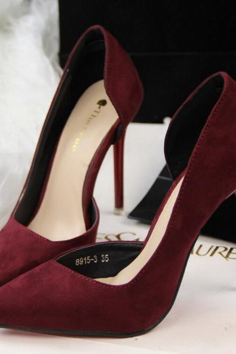 Burgundy Faux Suede Pointed-Toe High Heel Stilettos