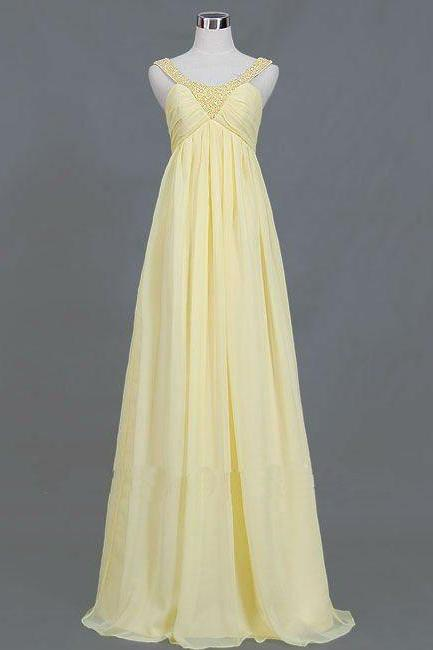 Sleeveless Empire Long Chiffon Yellow Dresses for pregnant women