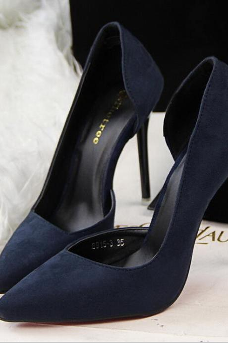 2015 the European and American fashion contracted fine with high heels show thin blue suede high heels for women's shoes