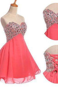 A Line Sweetheart Rhinestones Short Prom Dress Ball Gown, Coral Chiffon Homecoming Dress Lace Back Up Cocktail Dress,Mini Length Wedding Party Dress