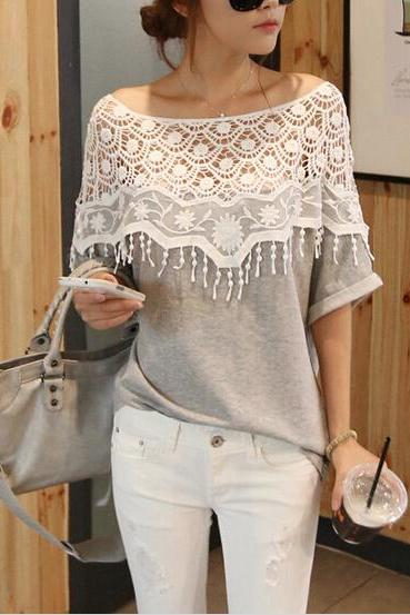 Lace Cutout Shirt Women Handmade Crochet Cape Collar Batwing Sleeve T-Shirt