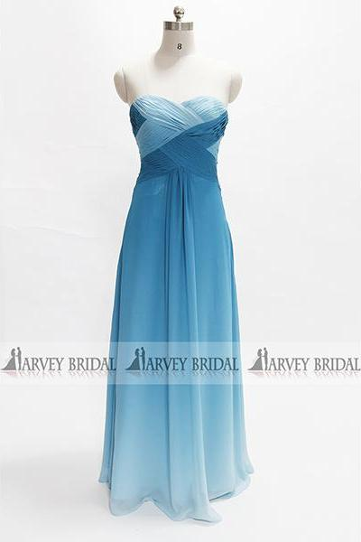 Sexy Backless Crystal Prom Dress Blue Chiffon Formal Evening Dress HarveyBridal