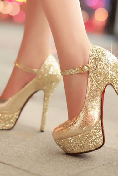 Sparkly Gold Ankle Strap Stiletto High Heels Party Shoes