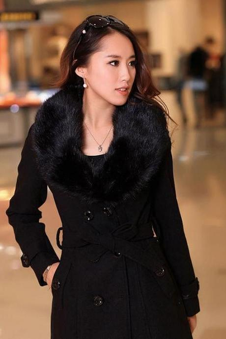 Black Coat Rich Thick Wool Fur Collar Winter Over Coats Black Woolen Jackets