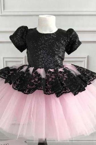 Cute Short Sleeves Black Dress for Infant Girls with FREE Silver Tiara Black Tutu Dress