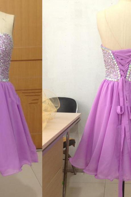 Pretty Light Purple Short Beadings Sparkle Prom Dresses, Homecoming Dresses, Graduation Dresses, Simple Prom Dresses 2015