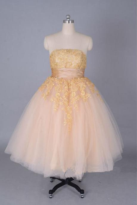 champagne Lace Tulle Gold Short Prom Dresses 2015