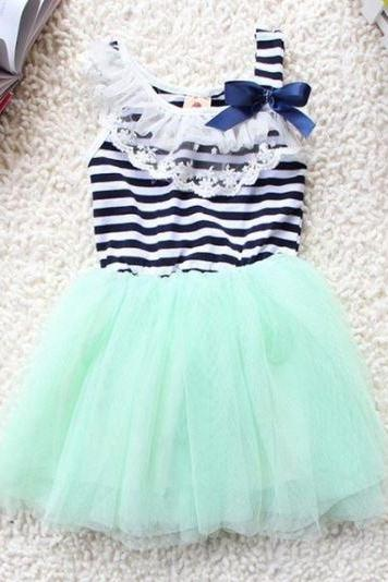Striped Green Dress for Infant Girls Baby Dress Summer Dress for Infant Girls