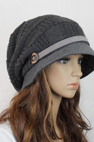 Wool handmade hat knitted hat in black and gray