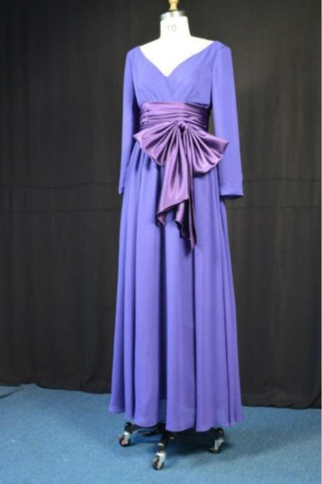 Long Sleeves Elegant Purple muslim prom dress