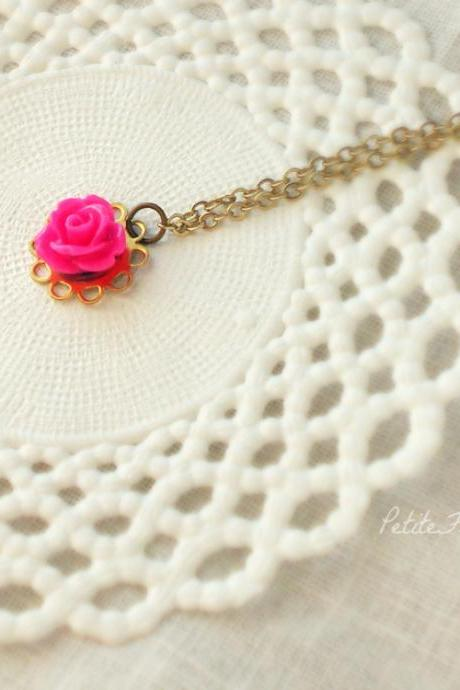 La petite rose, in hot pink and brass, Kids flower necklace