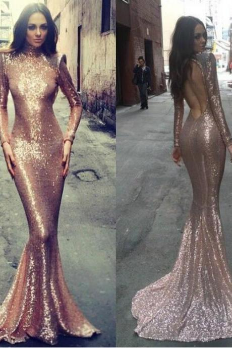 Fashion Long Sleeveless Backless Gold Sequin Mermaid Prom Dress