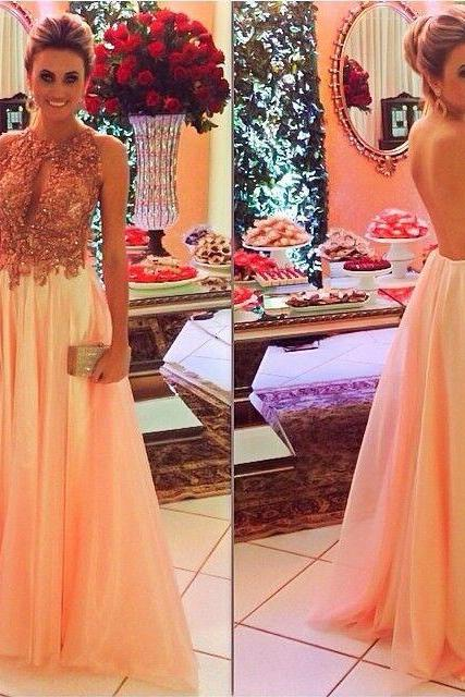 elegant Pink Prom Dress LONG With Beaded sheer Back