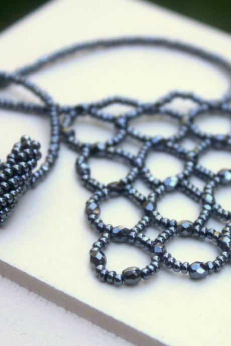 Gunmetal Grey Beaded Abacus Shield Necklace