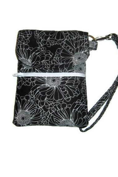 Phone Wristlet, Cellphone Case, iPhone Wallet, Black and White