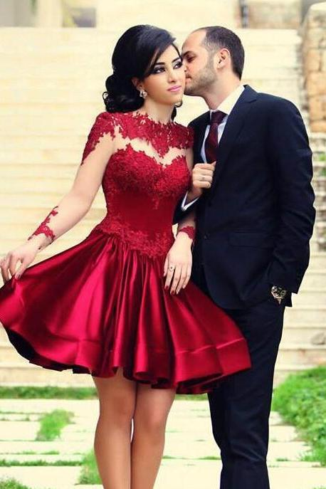 Red lace prom dress, long sleeve prom dress, short prom dress, prom dress, handmade dress, beautiful prom dress, BD116