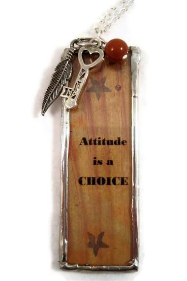 Necklace, Soldered Pendant with Charms and a Jasper Gemstone, Quote - 'Attitude is A Choice'