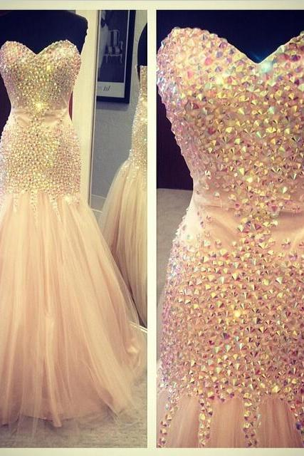 mermaid prom dress, sweet heart prom dress, gorgeous prom dress, prom dress with rhinestone, affordable prom dress, BD120