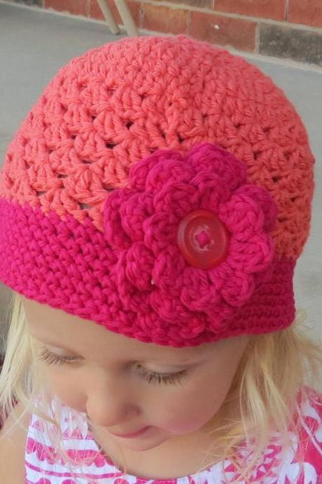 Strawberry Pink and Dark Peach Crochet Hat with Flower