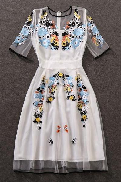 Slim Embroidery Spring And Summer Dress