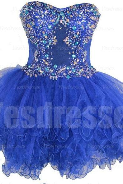 Blue prom dress, organza prom dress, sleeveless prom dress, short prom dress, cheap prom dress, custom prom dress, homecoming dress, PD15019