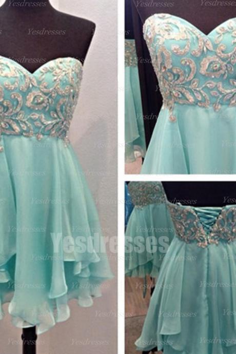 Blue prom dress, chiffon prom dress, sleeveless prom dress, short prom dress, cheap prom dress, lace up prom dress, homecoming dress, PD15028