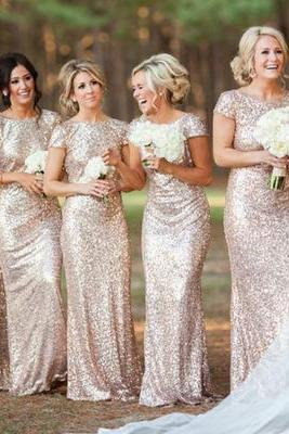 long bridesmaid dress, cap sleeve bridesmaid dress, round neck bridesmaid dress, sequin bridesmaid dress, best sale bridesmaid dress, PD15044
