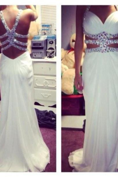 Pretty White Beaded Sexy Cross Back Prom Dresses 2015, White Formal Dresses, Evening Dresses, Prom Gowns