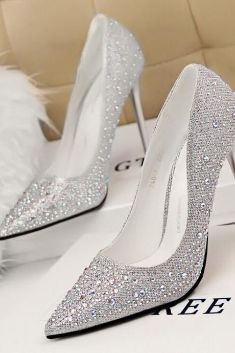 Silver Beaded Embellished Pointed-Toe High Heel Stilettos