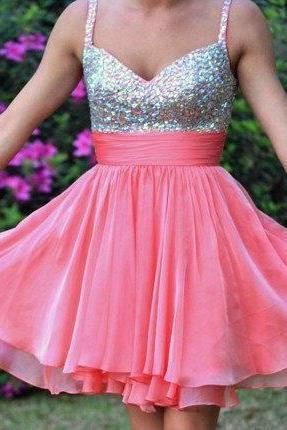 Spaghetti Straps Rhinestones Short Homecomg Dress Ball Gown,Coral Chiffon Mini Length Prom Dresses,layers Tiered Wedding Party Dress,Cocktail Dress,Bridesmaid Dress