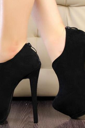 2015 the European and American fashion contracted black suede nightclub high heels for women's shoes