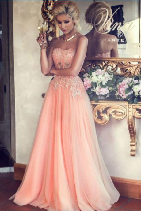 Top Selling A-line Strapless Lace Appliqued Bodice Blush Tulle Skirt Long Prom Dresses 2015, Cheap See Through Prom Dress,Custom Evening Gowns