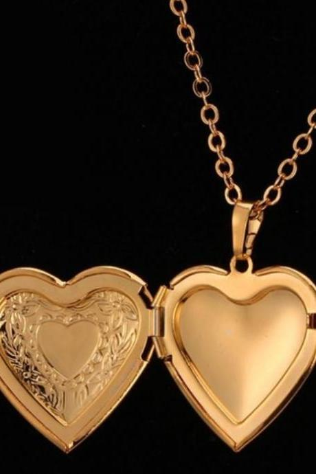 Free Shipping Golden Heart Necklace Golden Heart Golden Locket Necklace Pictures Necklace for Girls Women