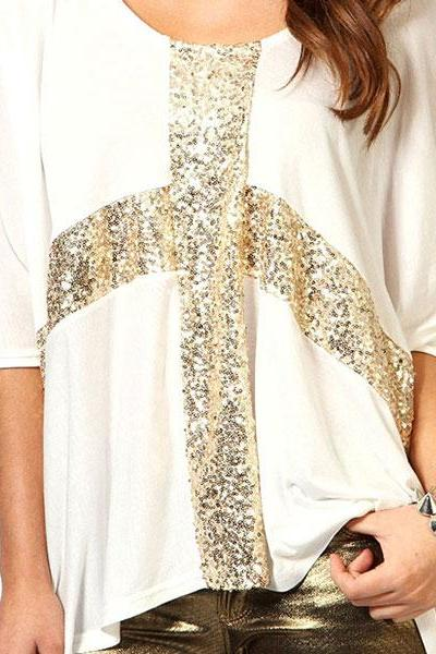 Cool Sequined Round Neck Sleeve Cotton T-Shirt