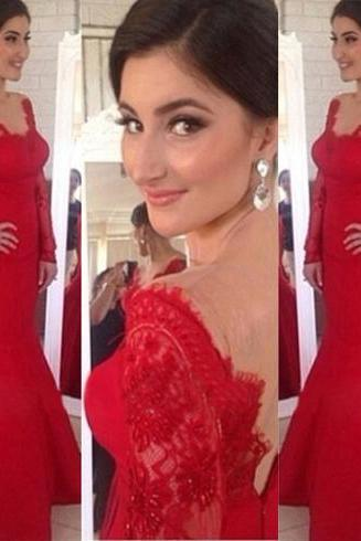 Red prom dress, sexy prom dress, long prom dress, mermaid prom dress, long sleeve prom dress, lace prom dress, evening dress, BD134