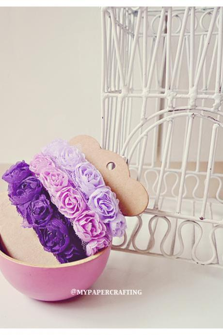 Choose any 3 colors Chiffon Bloomer rose trim - 5% off
