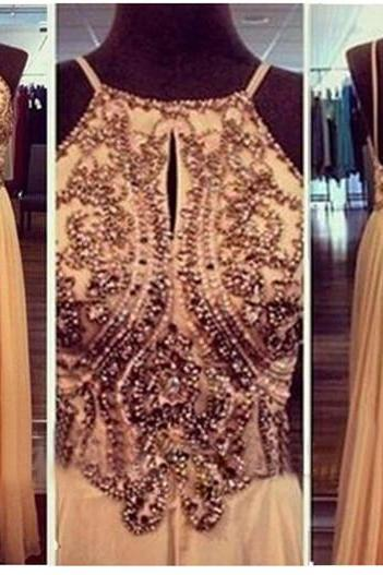 Handmade Beaded A-line Halter Neckline Open Back Floor Length Prom Dress Evening Dress