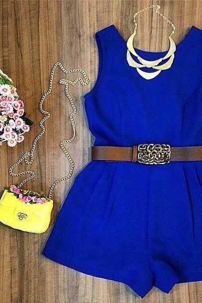 Fashion Sleeveless Blue Jumpsuits YM