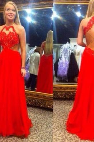 Red prom dress, sexy prom dress, prom dress, fantastic prom dress, sleeveless prom dress, lace prom dress, evening dress, BD145