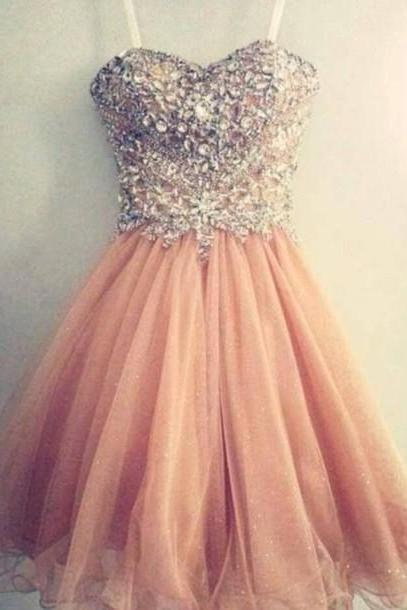 Beading Sequins Short/Mini Graduation Dresses, Strapless Homecoming Dresses, Real Made Graduation Dresses, Evening Dresses On Sale DR0014