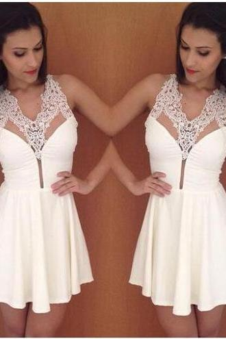 white prom dress, lace prom dress, prom dress, chiffon prom dress, short prom dress, simple prom dress, BD152