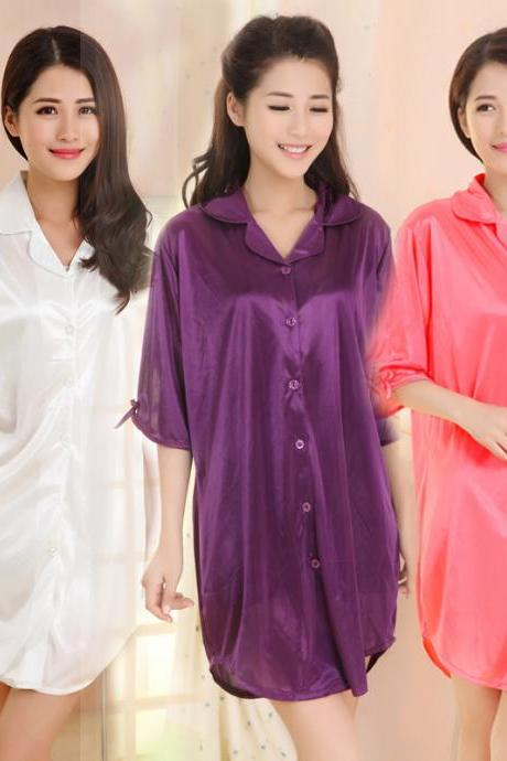 Sexy summer paragraph summer short-sleeved shirt loose chiffon blouse ladies pajamas Lingerie