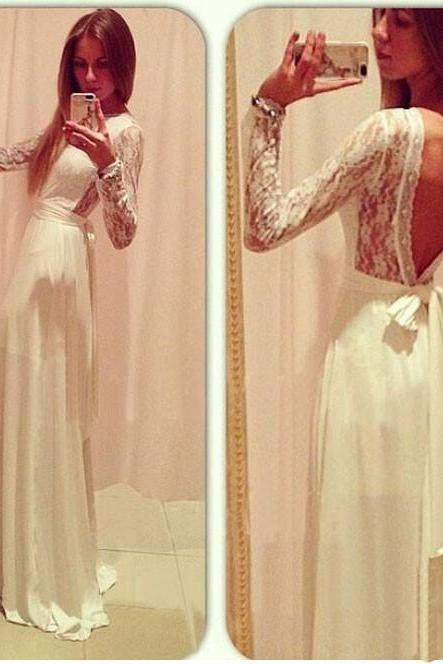 White lace prom dress, long sleeve prom dress, long prom dress, prom dress, occasion dress, unique prom dress, BD160
