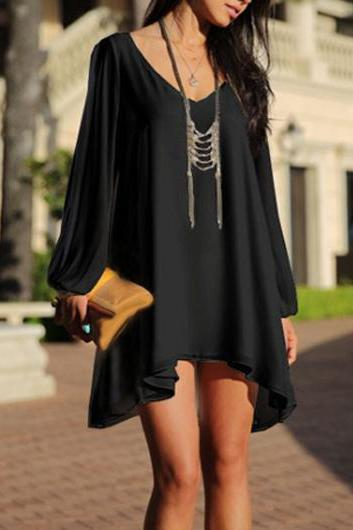 Bohemian Style V Neck High Low Dress