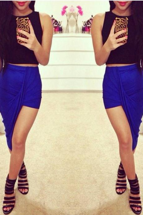 Sexy Wrap Banded Waist Draped Cut Out Asymmetrical Hi Low Skirt S M L BLUE