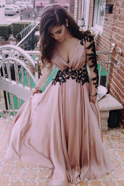 Hot Sales Black Lace Appliqued Blush Chiffon Deep V Neck Long Sleeves Prom Dress 2015,Handmade Cheap Long Prom Dress,Evening Gowns