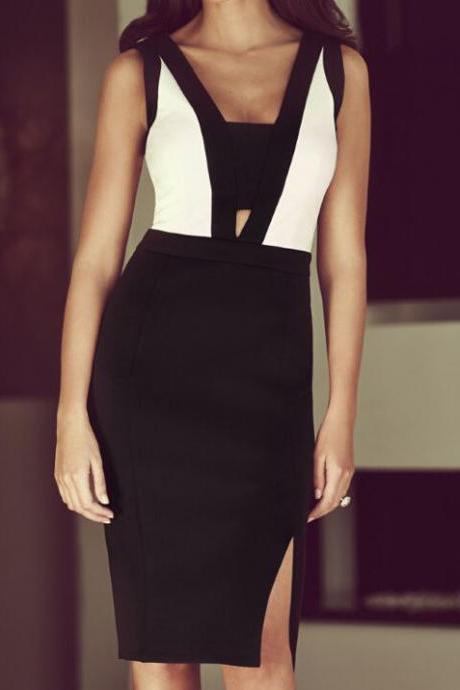 Elegant Contrast Panel Side Slit Knee-Length Formal Cocktail Party Midi Dress