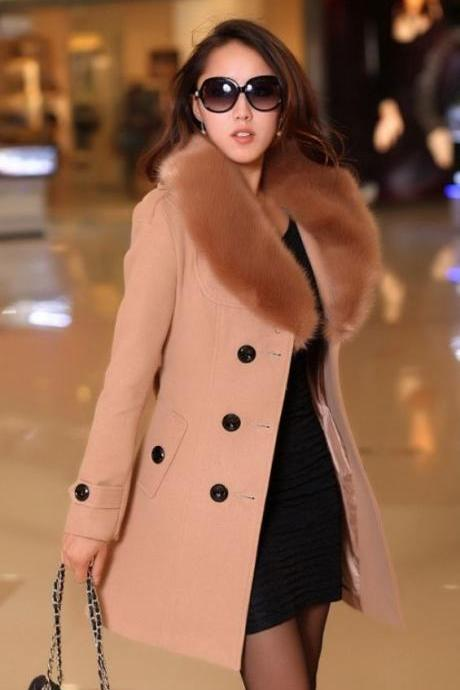 Beige Pink Coat Rich Thick Wool Fur Collar Winter Over Coats Beige Pink Woolen Jackets