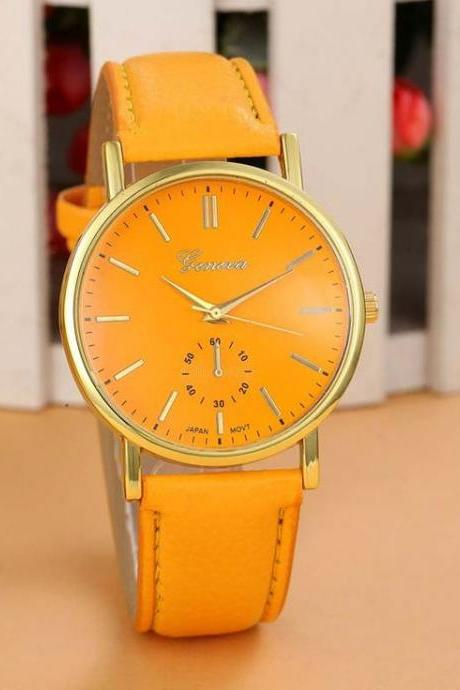 Cute Casual One Color orange Girl Watch
